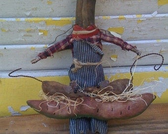 Welcome Spring Sale Primitive Farmer Cat Watermelon and Field Mouse