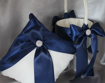 White or Ivory Flower Girl Baskets and 1 Pillow Ring Bearer Pillow-Navy-Custom Ribbon Colors-Size for Age 4-7