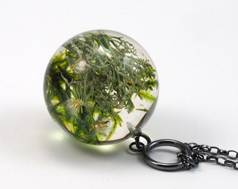 Green Moss mix Pendant, Large Resin Round with Sterling Silver Chain, Moss Sphere