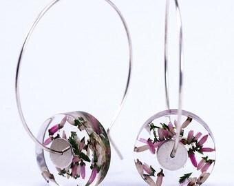 Rose Heather Earrings, Romantic Floral Resin Earrings in Sterling Silver, Summer Earrings, Resin Earrings, Resin Jewelry