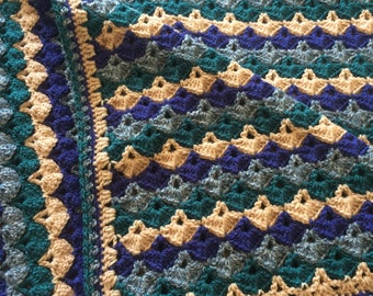 Crochet Blanket/ Crochet Throw/ Cottage Weekend Blanket/ Crochet Afghan/ Single/ twin bed size/ Three Season Blanket- Ready to ship.