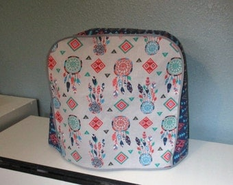 Southwestern Dreamcatchers in navy, coral and turquoise. Kitchen Aid mixer cover