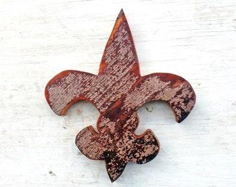 Wood Fleur de Lis, Reclaimed Wood Decor, New Orleans Symbol, Southern Decor, Reclaimed Wood Wall Art, Rustic Wall Art,  Lousiana Decor