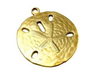 Brass Sand Dollar Pendants (4X) (M675-A)