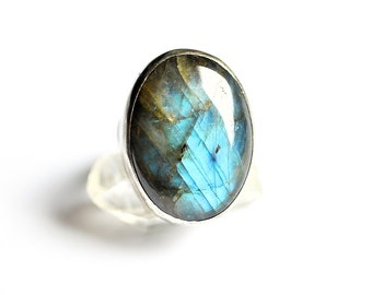 Humble Beginnings Ring Labradorite and Sterling Silver Simple Setting Size 7