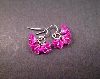 Flower Earrings, Hot Pink Ruffle Blossoms, Silver Dangle Earrings, FREE Shipping U.S.