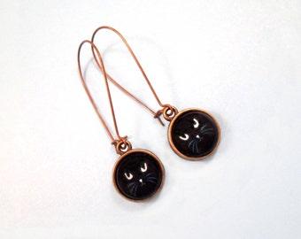 Black Cat Earrings, Glass Cabochon Earrings, Brass Dangle Earrings, FREE Shipping U.S.