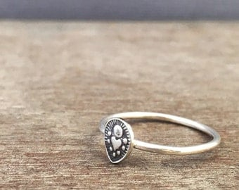 stacking ring - sterling silver rings - tribal rings - unique rings - boho rings - bohemian rings - sacred heart ring