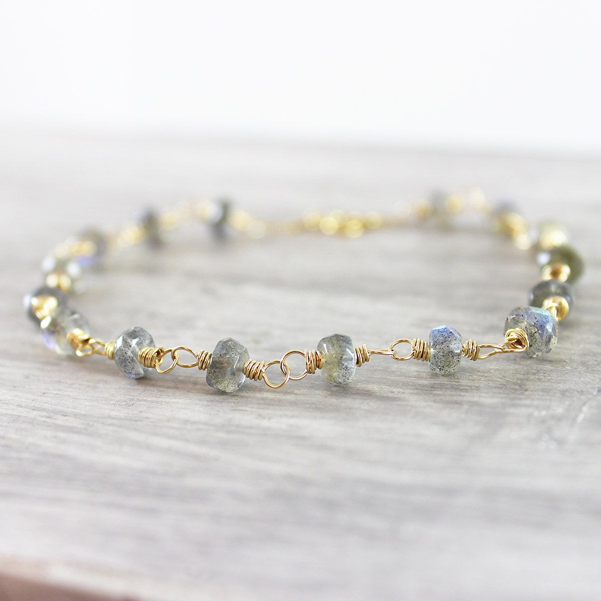 Labradorite Gold Bracelet, Beaded Gemstone Bracelet, Grey Bead ...
