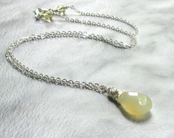 Buttercream Yellow Chalcedony Necklace, Yellow Jonquil Crystals, Wire Wrapped Teardrop Pendant, Delicate Silver Necklace