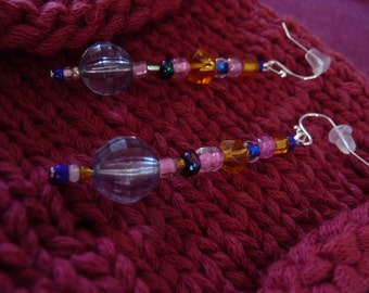 Ice Queen. Jewelry, earrings, glass, vintage, pink, blue, gold, cut glass, bead, ball, gift for her.