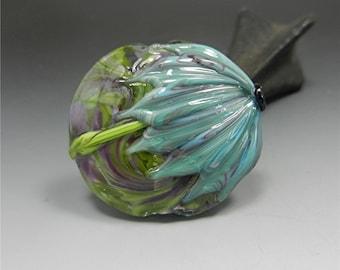 LAMPWORK beads Focal Bead handmade glass bead Donna Millard floral turquoise aqua purple floral flower spring summer