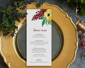 Watercolor Flowers Slim Dinner Menu Cards