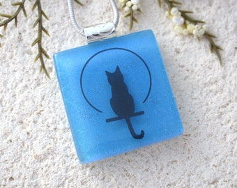 Cat Necklace, Cat Jewelry, Dichroic Jewelry, Dichroic Jewelry, Cat Pendant, Fused Glass Jewelry, Glass Pendant, Cat Necklace,  111216p3
