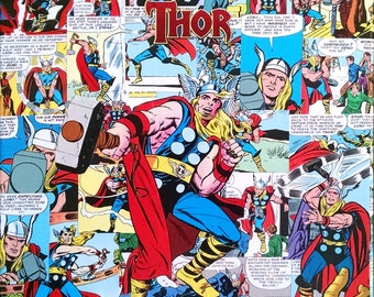 The Mighty THOR Decoupage Comic Collage Canvas