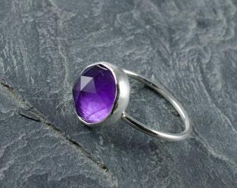 Rose Cut Amethyst Ring. February Birthstone. Checker Cut Amethyst Ring. Cabochon Silver Ring. Stacking Gemstone Ring.