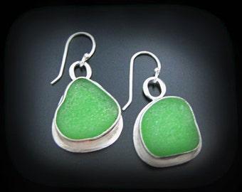 Sea Glass Earrings, Genuine Emerald Green Pacific Ocean Seaglass, Fine Silver Bezel