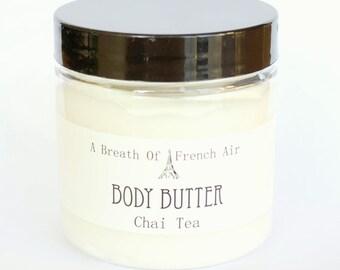 Chai Tea Body Butter Balm, Moisturizer, Shea Butter Salve, Natural, Vegan Hand Lotion, Facial Cream, Whipped, 4 Ounces, Foot Cream