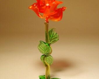 Handmade Blown Glass Art Figurine Red Standing Flower ROSE Figurine