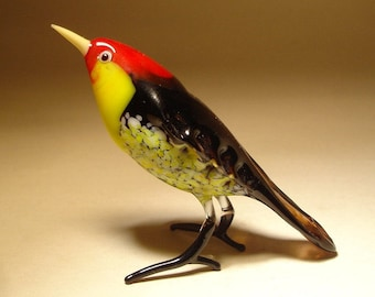 Handmade  Blown Glass Figurine Art Black, Red and Yellow Bird