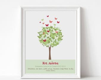 Teacher Gift End of Year - Custom Print - Butterfly Tree Wall Art - Personalize with Name, School, Grade