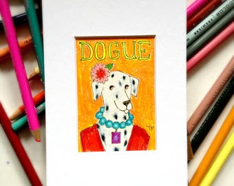 Miniature dog drawing DOGUE magazine cover Dalmatian Dog Portrait illustration small colored pencil drawing by artist Tascha