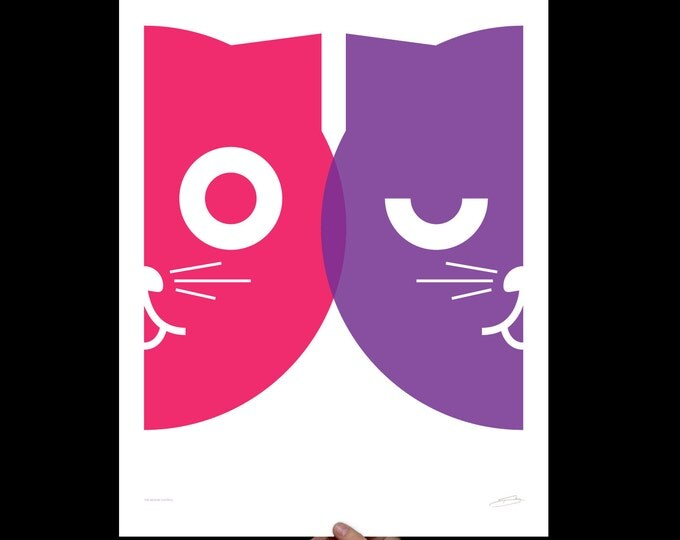 Featured listing image: Dueling Watson the Cat Print   Large Wall Art   Girls Animal Nursery Decor   Cat Poster   Pop Art   Cat Lover Gift   Gift Minimalist