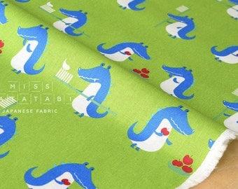 Japanese Fabric - Putidepome - teeth brushing crocodiles - green - 50cm