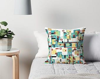 Mid Century Modern, Throw Pillow Cover, Modern Pillow Cover, Art Pillow, Modern Pillow, Retro Pillow, Geometric Pillow, Aqua Pillow