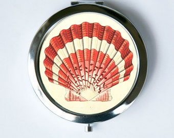 Scallop Shell Compact Mirror Pocket Mirror