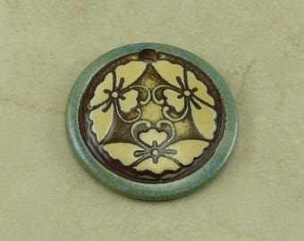 "Blue Butterfly Disk Pendant - Three Butter Fly Motif with Ivory and Mocha Brown - Clay River Designs 1 1/4"" Diameter I ship Internationally"