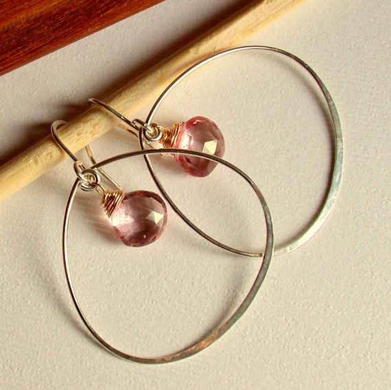 Petal Hoops with Pink Mystic Quartz. Sterling silver hoops with gemstone.  Pink Gemstone Hoops. Gold fill hoops with gemstone