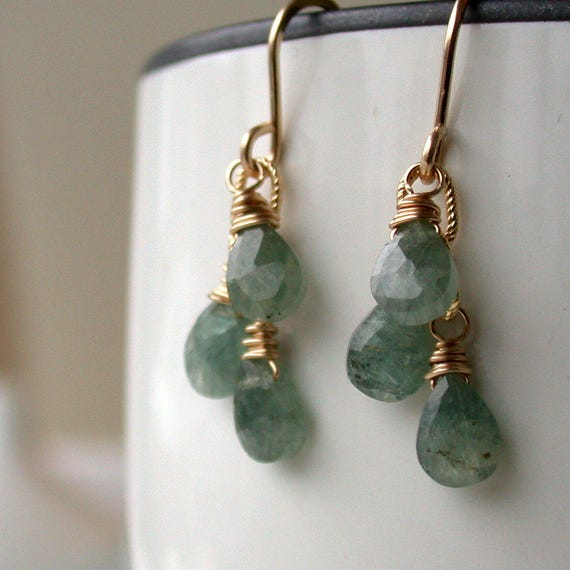 Moss Aquamarine Trio Earrings. Dangle Earring. Drop Earring. Artisan. Jewelry.