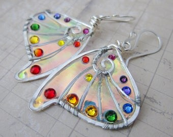 Sihaya Designs Faery Wing Earrings - Daoine Sith with Rainbows - Fairy Wing Jewelry