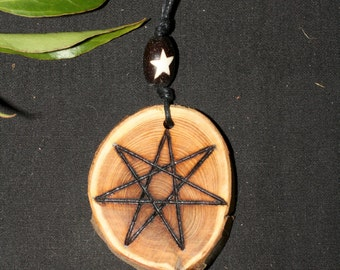 English Yew Wood Fairy Star Pendant -Hecate - Pagan, Wicca, Witchcraft, Elven star, Septagram