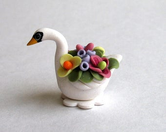 Miniature  Flower Filled Swan by C. Rohal