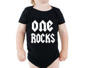 One rocks first 1st birthday romper shirt