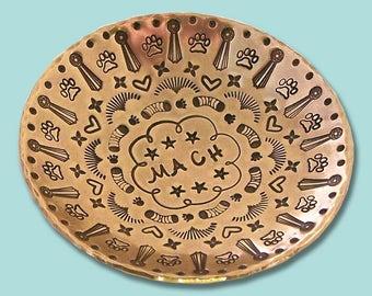 MACH Hand Stamped Brass Ring Dish
