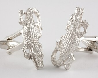 Crocodile Cufflinks, Sterling Silver, personalized