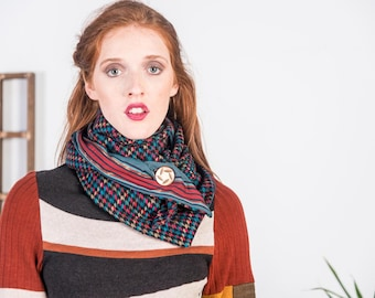 Suit Wrap Reversible Scarf - ONE SIZE up-cycled, rework, wool, vintage fabrics, handmade, outerwear, accessory, plaid, multi colored, eco