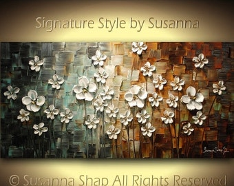 ORIGINAL Large Abstract Contemporary Textured White Daisy Flowers Landscape Painting Modern Palette Knife by Susanna Ready to Hang 48x24