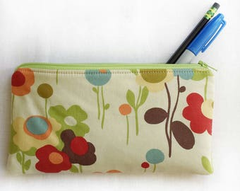 floral springtime zipper pouch, school pencil or art supply bag, perfect for medication, epi-pen, or cosmetic, makeup travel purse