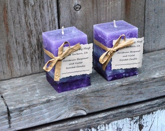 SALE: Pair of Calibrian Bergamot and Violet Scented Small Square Pillar Candles