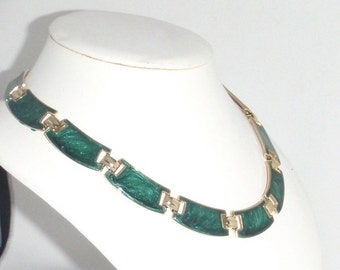 Glimmering Emerald Green Enamel and Gold Segmented Vintage Choker Necklace