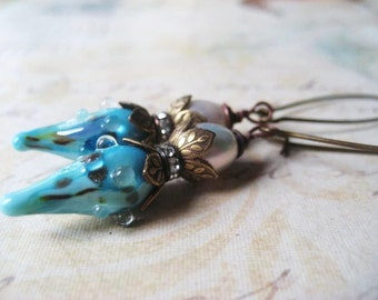 Lampwork Earrings, Aqua Lampwork, Genuine Pearl, Lampwork Pods, Rhinestone Rondelle, Laurel Leaf Cap, Vintaj Brass, Kidney Earwires