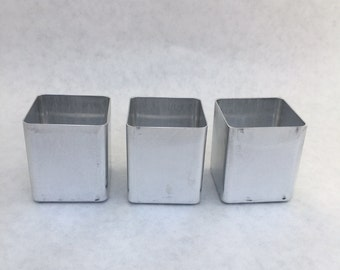 Votive Candle Molds 3 Square NEW Seamless Aluminum Candles