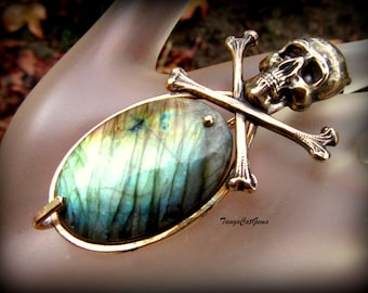 Skull and  Cross Bone Labradorite Pendant Necklace A Pirates Life For Me