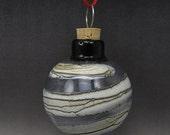 ON SALE Handmade Lampwork Glass Blown Hollow Ornament by Jason Powers SRA (grey 1)
