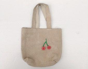 SALE leather bag cherry