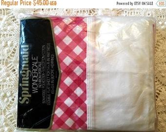 HOLIDAY SALE - Lattice Springmaid Wondercale Full Red Check Flat Sheet - New in Package - NIP  Nos - Unused - New Vintage Flat Sheet
